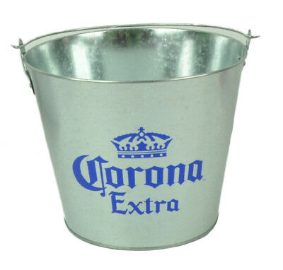 Corona Extra Crown Logo Galvanized Metal Beer Bucket Cerveza Bottles Cans Silver - Novelty Crown