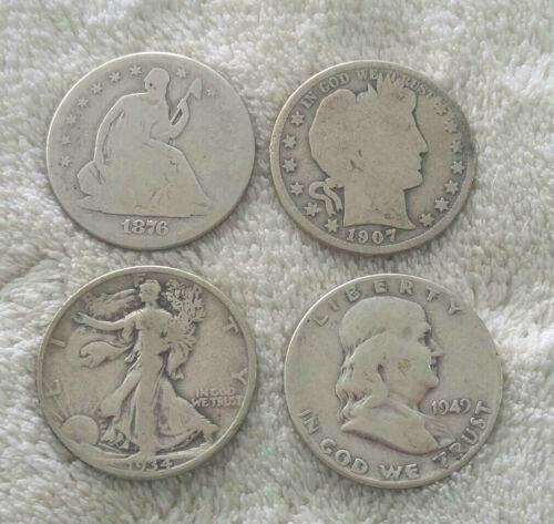 (4) U.S. Silver Halves- seated, barber, walker, franklin - free ship