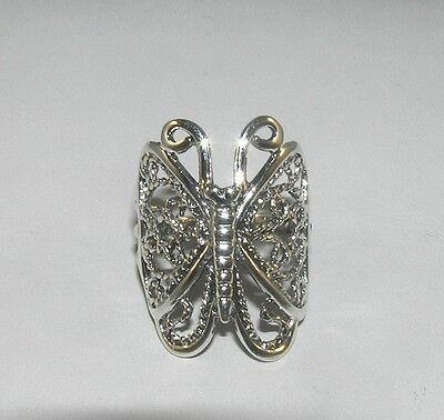 Filigree Butterfly Wrap Ring Sterling Silver Sizes 5.75, 6.5, 6.75