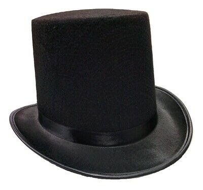 Deluxe Tall Black Felt Top Hat Dickens Caroler Steampunk Coachman Adult Costume