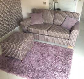 Sofa, footstool & rug