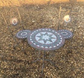 Wrought Iron & Mosaic Garden Table & 2 x folding Chairs