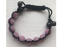 Sparkly Pink Beaded Bangle