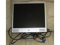 """H.P. MONITOR - 17"""" flat screen, L.C.D. in very good condition, can be seen working, smoke/pet free"""