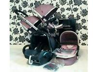 Icandy Peach 3 Double Buggy Pram Pushchair Carrycot Maxi cosi Car Seat I candy