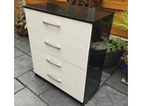 Chest Of Four Drawers - Black / White Hi Gloss - New / Unused