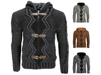 Mens Knitted Zip Cardigan Thick hooded Sweat Jacket Warm winter faux fur lined