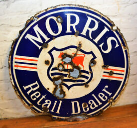 Morris Retail Dealer enamel double sided sign advertising mancave garage metal vintage antique decor