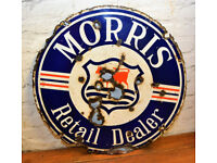 Morris Retail Dealer enamel double sided sign advertising mancave garage metal vintage antique decor