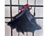 6 Small Unique Handmade Turkey Feather Black Christmas Tree Decorations