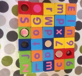 Wooden Alphabet Blocks Set