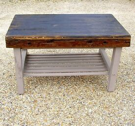 DINING / LIVING / SHABBY CHIC BESPOKE HAND MADE FARMHOUSE TABLE IN ANTIQUE SOLID OAK