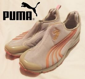 PUMA WOMENS RUNNING TRAINERS SNEAKERS SHOES SLIP ON LIGHTWEIGHT CANVAS GYM SPORT PINK SILVER RRP £50