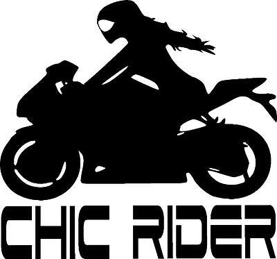 Female motorcycle sport bike crotch rocket chic rider girl vinyl sticker decal