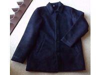 Men's Black Faux Suede Winter Coat Size Medium