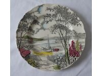 Four plates. Vintage Staffordshire China. Boats. Seaside. Great condition. Antique.
