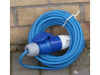 NEW 16 AMP, TEN METRES LONG ELECTRIC HOOK UP CABLE, RRP £24.99, BARGAIN ONLY £10 CAN POST