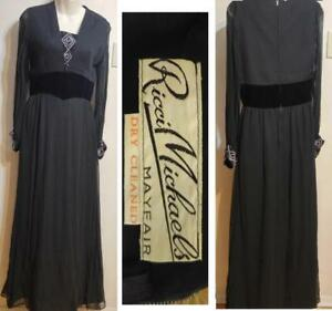 RICCI MICHAELS Mayfair 4 XS 34 Long Vintage Dress Black Silk Velvet Gown Beads Sexy Antique Tall Slim Full Floor Length