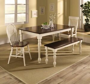 NEW Farmhouse Dining Room Set White Cherry Table Bench Windsor Flat