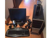 Dell computer tower, logitech keyboard & mouse, ViewSonic monitor & Seagate