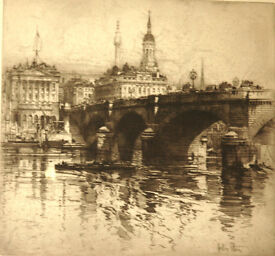 2 Original Framed Etchings. HEDLEY FITTON 1859 -1929. 'London Bridge' and 'Bargate, Southamton '