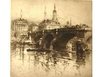 2 Original Framed Etchings. HEDLEY FITTON 1859 -1929. 'London Bridge' and 'Bargate, Southamton '
