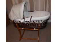Mothercare Baby Moses Basket with Rocking Stand, mattress & blanket
