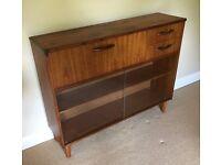 Retro Mid Century Avalon Teak Bureau/Bookcase/Display Cabinet