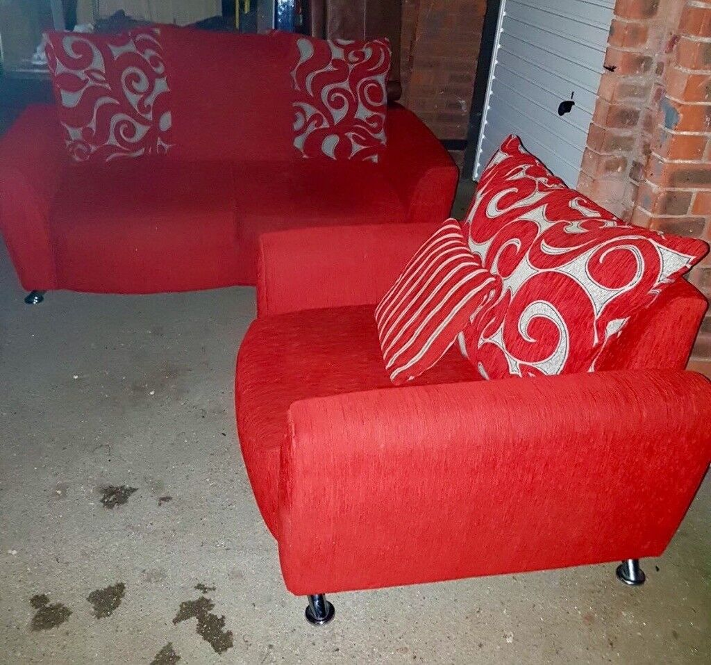 Red 2 seater sofa and armchair