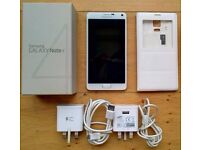 *** REDUCED PRICE *** Samsung Galaxy Note 4 White 32GB (unlocked) - mint condition