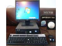 Full Computer Set-up DELL OPTIPLEX 760 Desktop w Screen/Keyboard/Mouse/Windows 7/Core 2 Duo/Internet