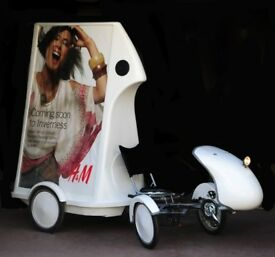 Adbike, Quadricycle poster bike, back-lit posters, lockable storage and integrated sound system