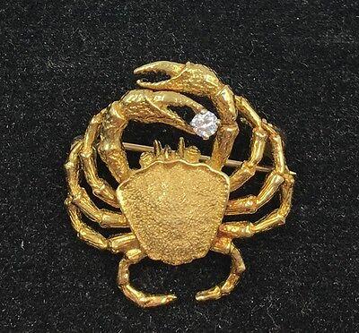 18k Yellow Gold .05CT Diamond Crab Brooch Pin