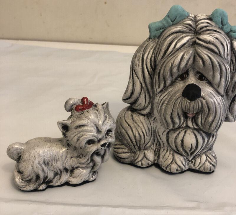 Vintage Ceramic Poodle Figurine. Mother& puppy