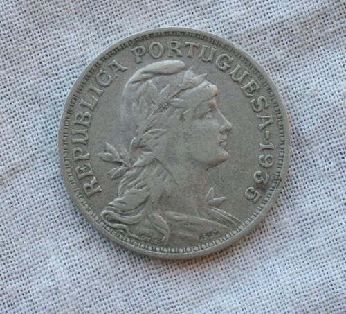 1935 Portugal (Azores) 50 Centavos Copper-Nickel Coin SHARP  VF