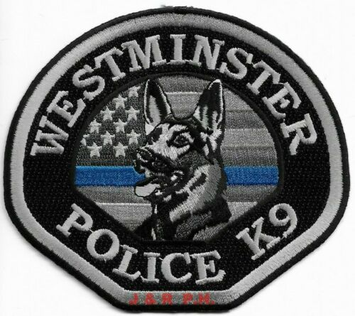 """*NEW*  Westminster K-9, California # 2 (4.5"""" x 4"""")  shoulder police patch (fire)"""