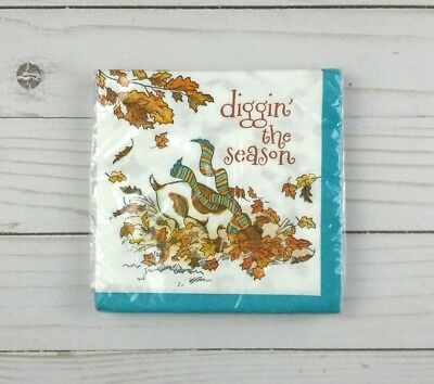 Paper Beverage Cocktail Napkins 20 ct Fall Leaves Dog