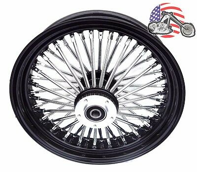 "Black 16"" X 3.5"" 48 Fat King Spoke Rear Wheel Rim Harley Touring Softail Bagger"