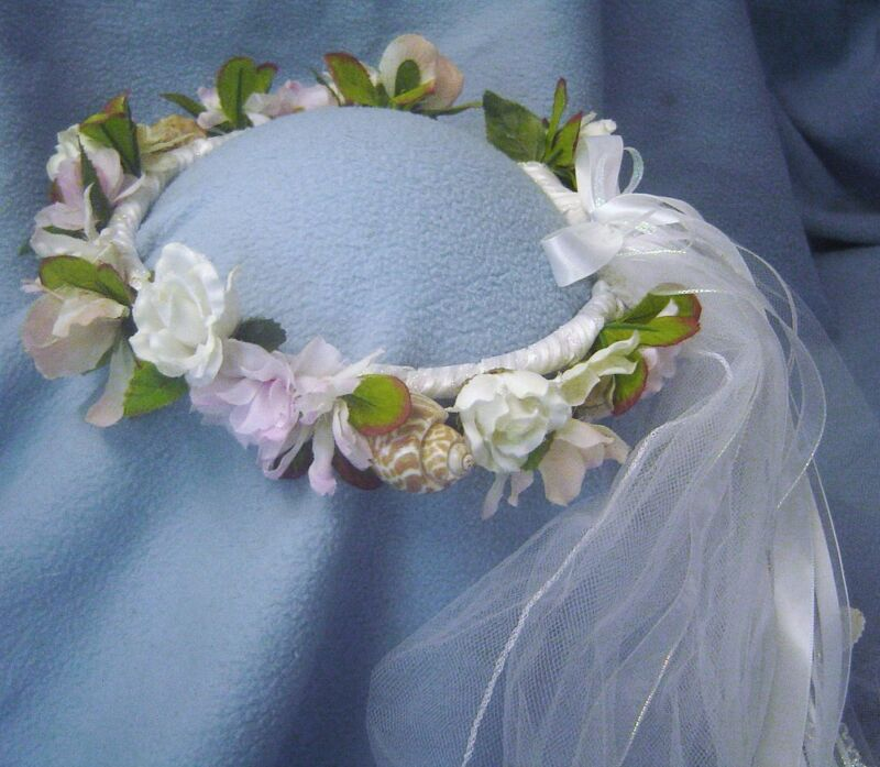 Shell Beach - Wedding Head Wreath with veil & natural sea shells / Hand Crafted