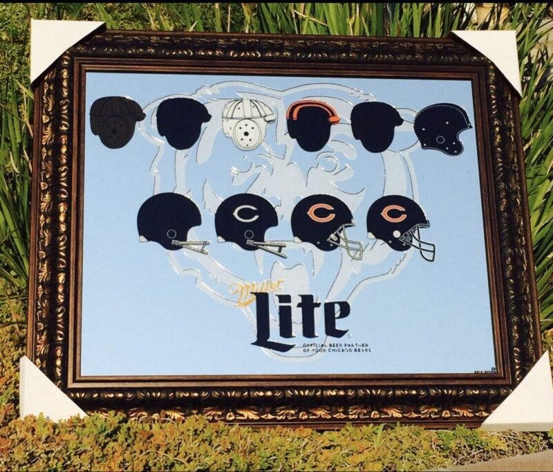 "Miller Lite Chicago Bears NFL Football Beer Bar Pub Man Cave Mirror  ""New"""