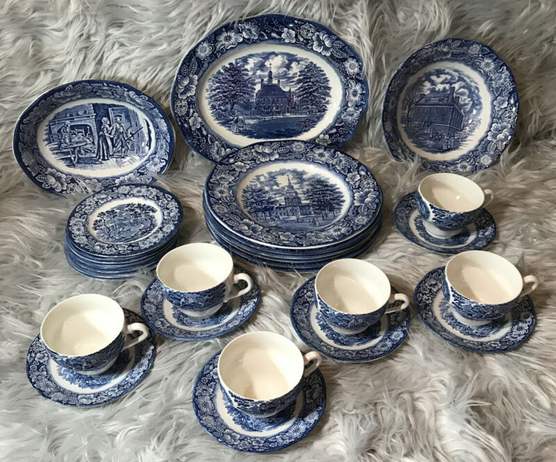Liberty Blue Historic Colonial Scenes Staffordshire Ironstone, 29 Pieces.