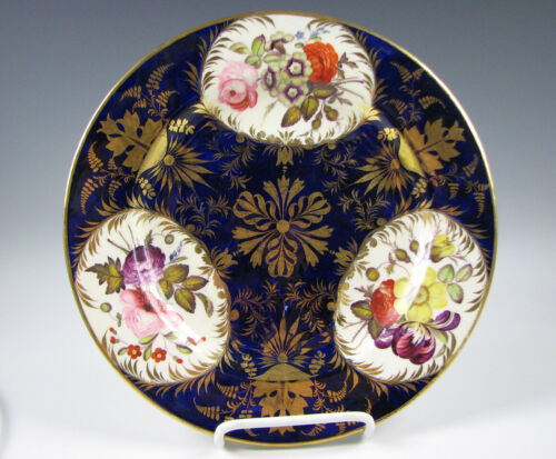 Antique Derby English Porcelain Cobalt Blue & Gold Floral Plate