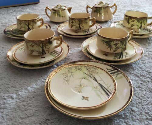 Japanese Antique Eggshell Kutani Bamboo Tea Set - $75.00