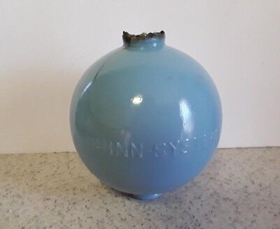 Shinn System Blue Milk Glass Lightning Rod Ball Crack Glass Decor