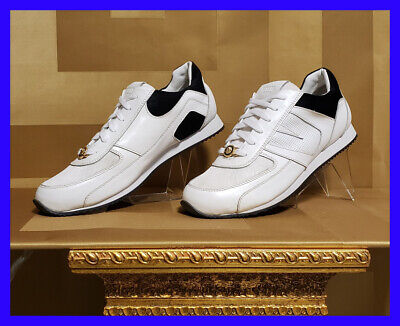 NEW VERSUS VERSACE WHITE LEATHER SNEAKERS with GOLD LION BUCKLE 42 - 9