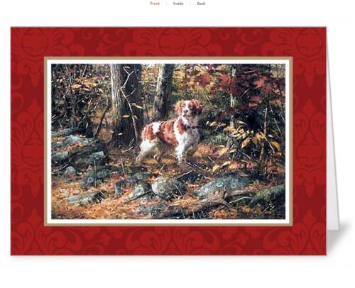 """Set of 10 matching 5"""" x 7"""" Brittany Spaniel Note Cards"""