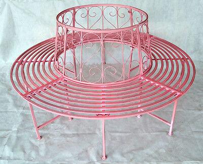 Gartenbank Rundbank Baumbank Bank aus Metall Pink 506156