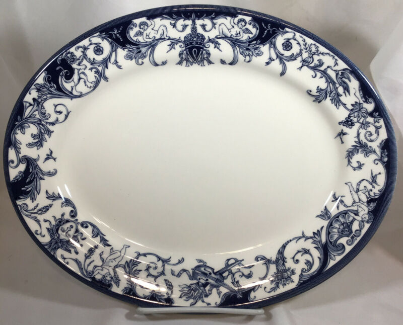 """The Royal Palaces by Rosina-Queens Serving Platter White~Blue Design 12.5""""x9.5"""""""