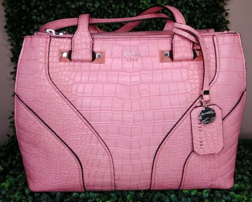 Guess Rose Pink Satchel Hand Bag Islington Leather Logo Croc