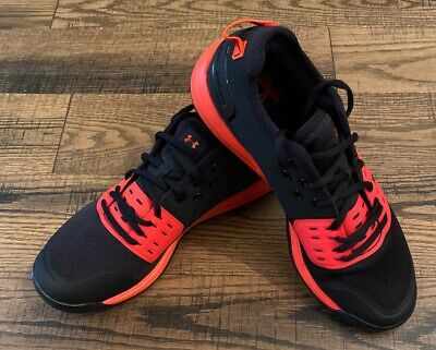 Mens Under Armour Shoes Size 9 Charged Athletic Black Red Orange NEW